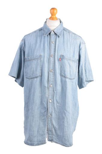 Levi's Short Sleeve Denim Shirt 90s Retro Blue L
