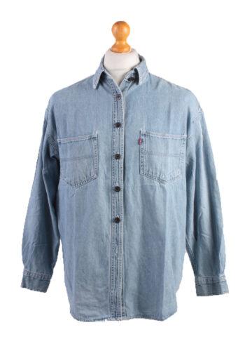 Levi's Long Sleeve Women Denim Shirt 90s Blue XL