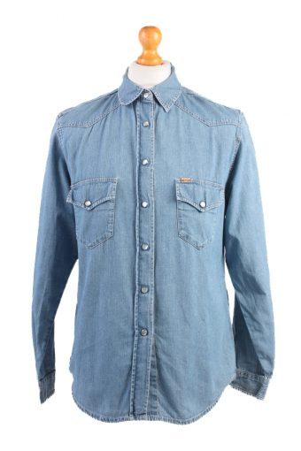 Mustang Denim Shirt Long Sleeve Women Blue L