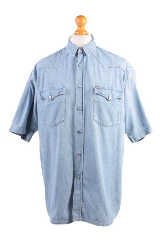 Mustang Vintage Short Sleeve Shirt Blue Size L - SH1949-0