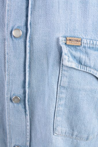 Mustang Vintage Short Sleeve Shirt Blue Size L - SH1949-15442