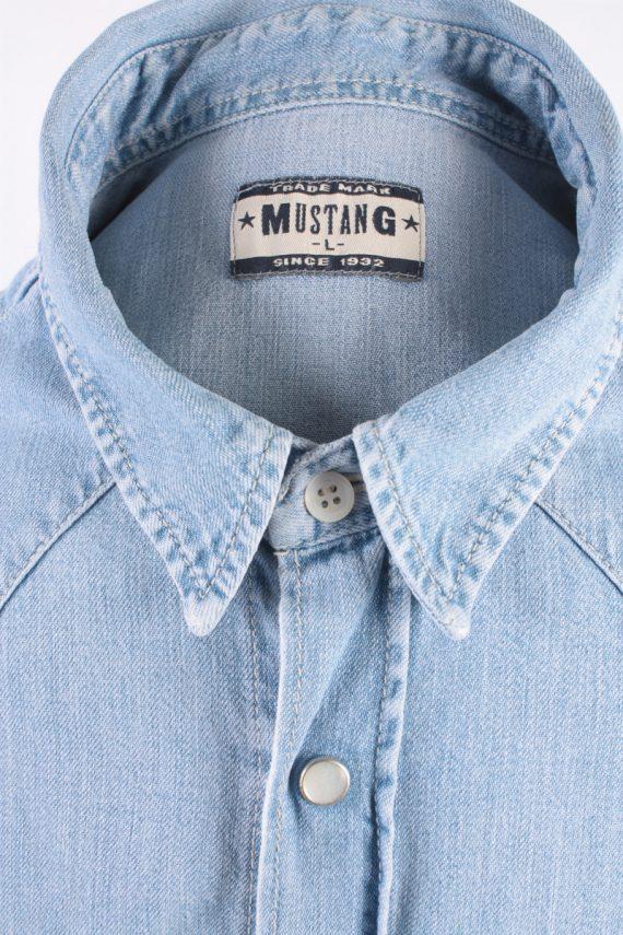 Mustang Vintage Short Sleeve Shirt Blue Size L - SH1949-15444