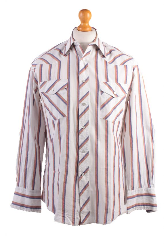 "Wrangler Vintage Long Sleeve Shirt White/Stripes Size 44"" - SH1963-0"