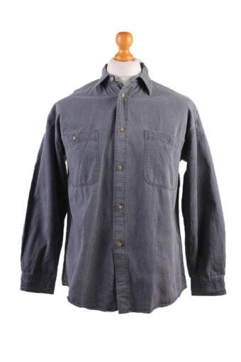 90s Denim Shirt Long Sleeve RQ Polo Team Grey M