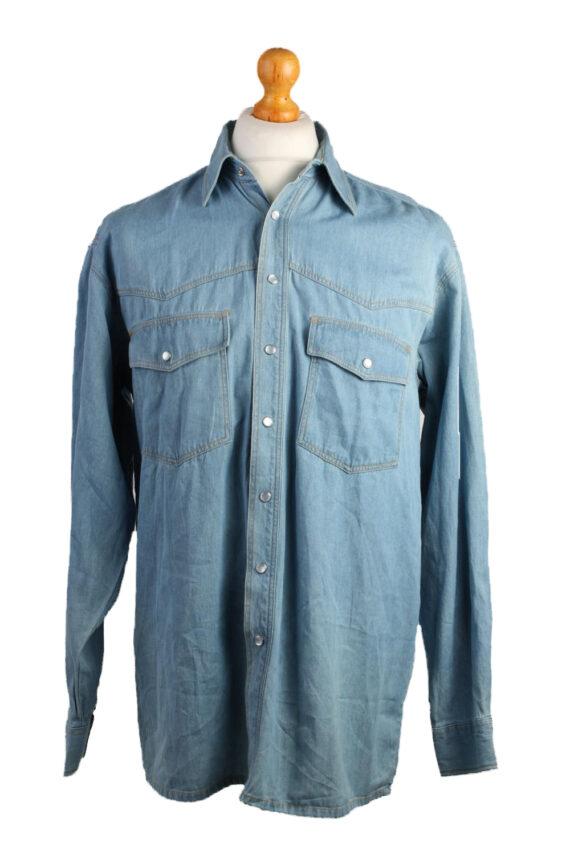 John F.Gee Vintage Long Sleeve Shirt Blue Size 37/38 - SH359-0