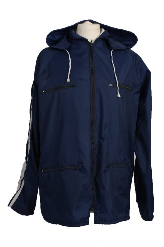 "Raincoat Hooded Vintage Waterproof Navy Jacket Chest Size 44 "" -SW094-0"