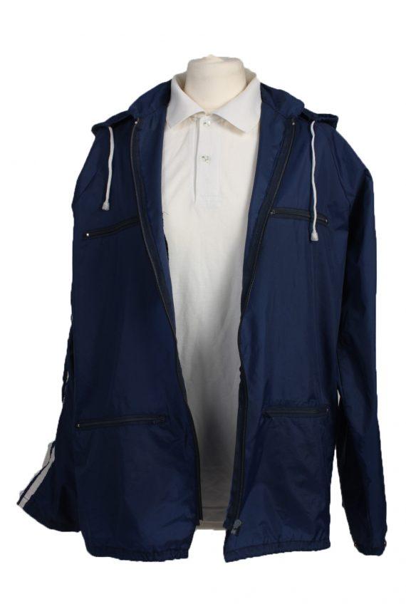 "Raincoat Hooded Vintage Waterproof Navy Jacket Chest Size 44 "" -SW094-19366"