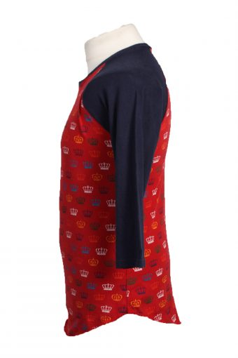 """Vintage Casual Top Blouse Long Sleeve Red with Design Chest Size 35 """" - TS341-19289"""