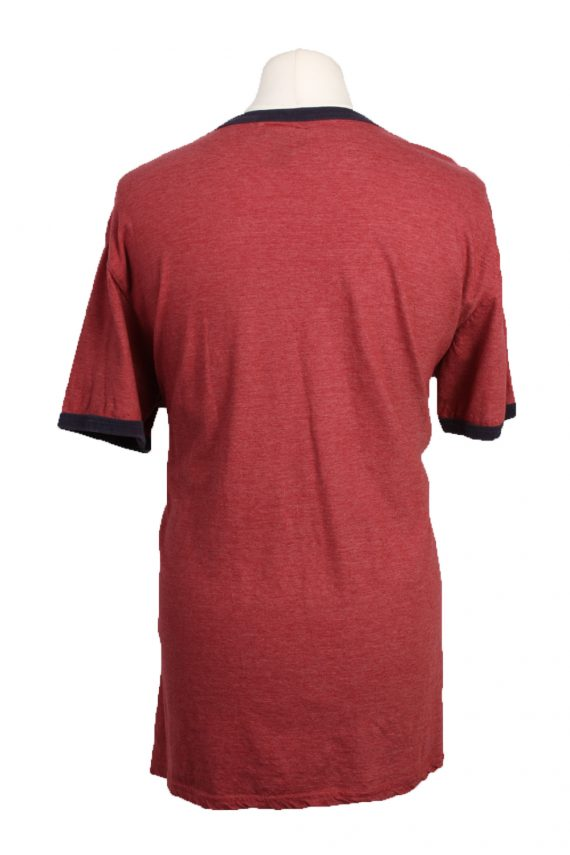 """Vintage Casual T-Shirt Short Sleeve Burgundy with Design Chest Size 46 """" - TS339-19299"""