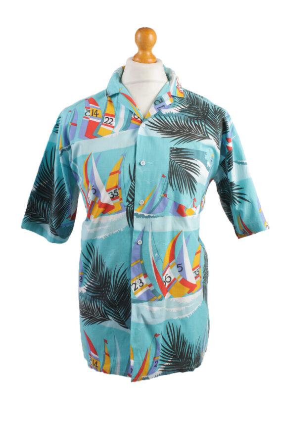 Vintage Hawaiian Shirt Beach Stag Aloha Party Summer Blue/Design Size M-SH2289-0