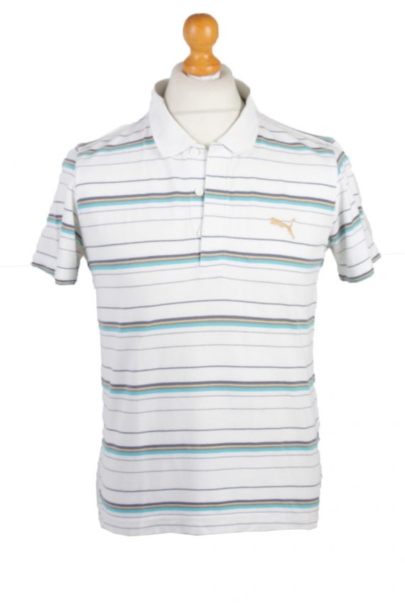 Puma Vintage Casual Men Polo Shirt White/Stripes Size M -PT0305-0