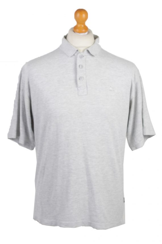 """Adidas Vintage Casual Men Polo Shirt Grey Chest Size 45""""-PT0307-0"""