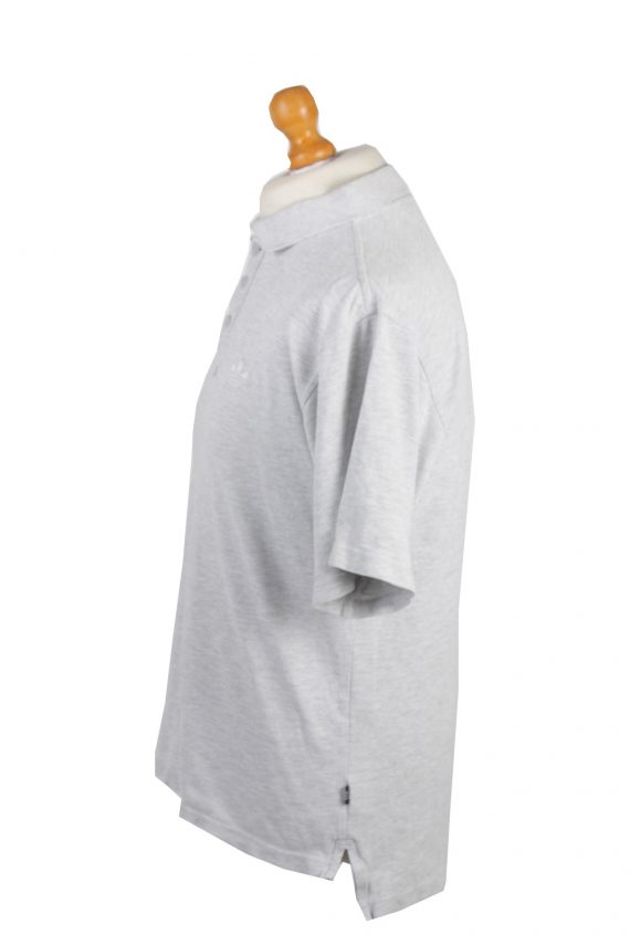 """Adidas Vintage Casual Men Polo Shirt Grey Chest Size 45""""-PT0307-24343"""