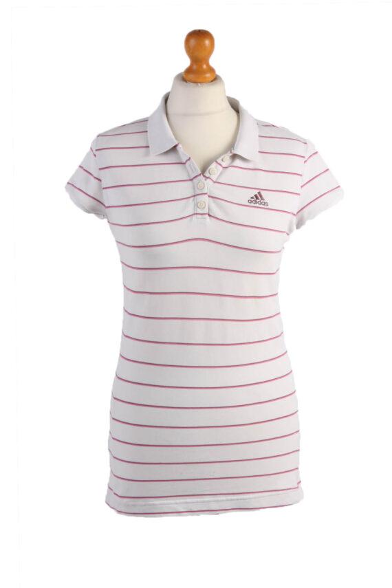"Adidas Vintage Casual Women Polo Shirt White/Stripes Chest Size 35"" -PT0455-0"