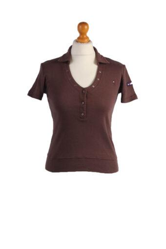 Tommy Hilfiger Polo Shirt 90s Retro Dark Brown M