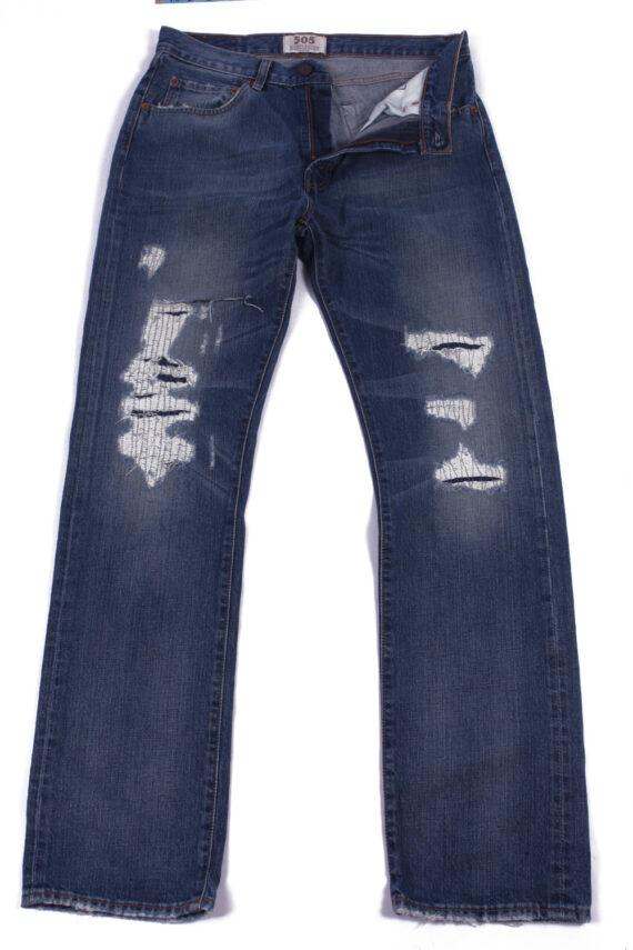 Levi`s 505 Vintage Blue Jeans with Buttons&Zip Unisex Size - W31 L34 - J2062-0