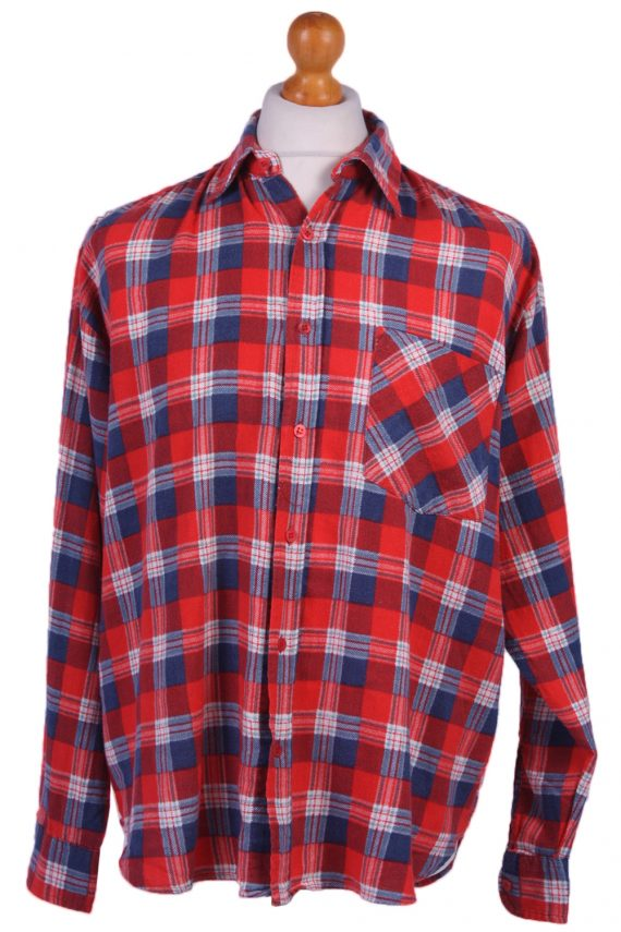 "Vintage Flannel Men Shirt Lumberjack Cosy Multicolour Check Pattern 51""-SH2322-0"