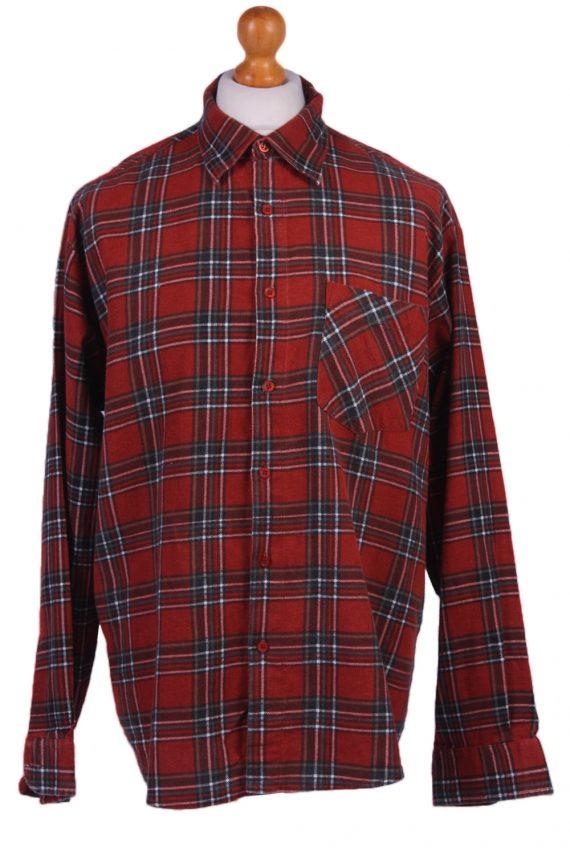 "Vintage Flannel Men Shirt Lumberjack Cosy Multicolour Check Pattern 48""-SH2324-0"