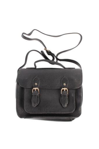 Ladies Women Double Strap Black Faux Leather Bag