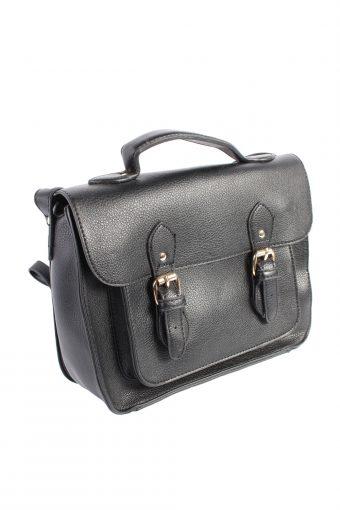 Ladies Women Double Strap Black Faux Leather Bag - BG327-40170