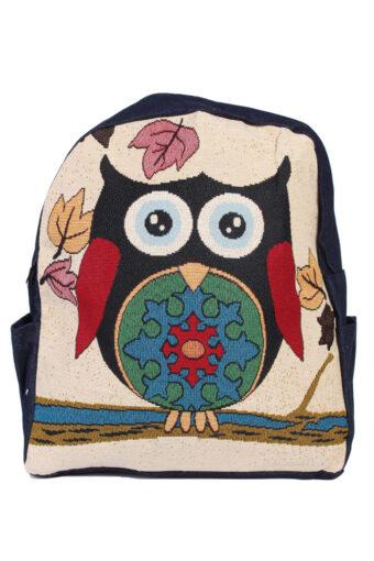Ladies Owl Printed Bag With Denim Details – Black Owl