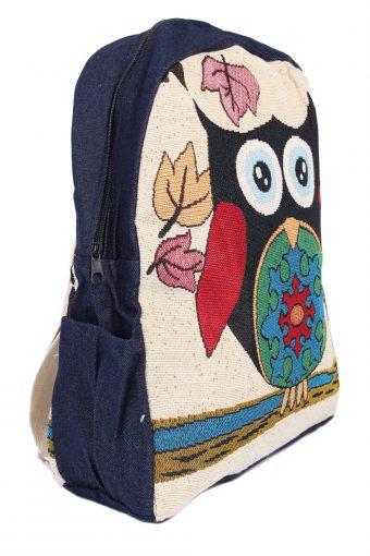 Ladies Owl Printed Bag With Denim Details - Black Owl - BG386-40558