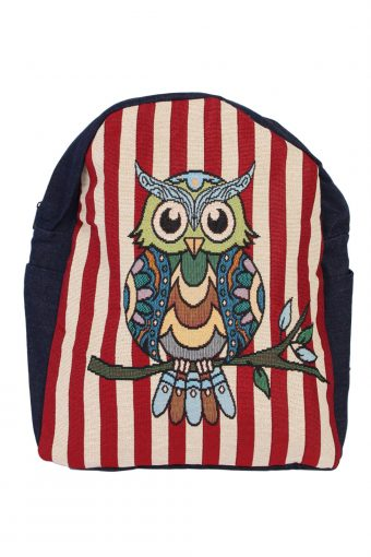 Ladies Owl Printed Canvas Bag – Multi Colour Owl