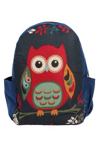 Ladies Owl Printed Bag- Navy