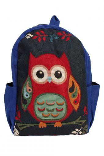 Ladies Owl Printed Bag- Blue - BG395-40622