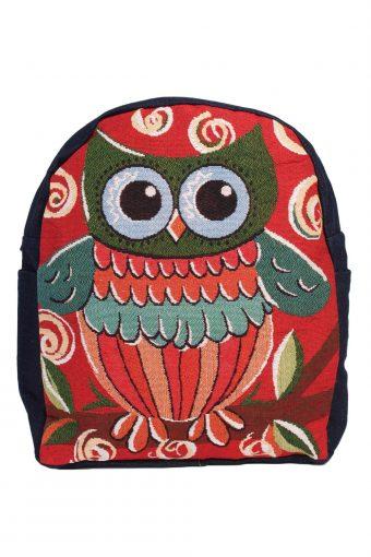 Ladies Owl Printed Bag- Red
