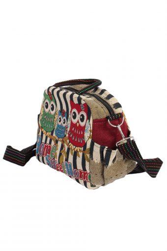 Ladies Owl Printed Bag- Multi Colour - BG405-40652