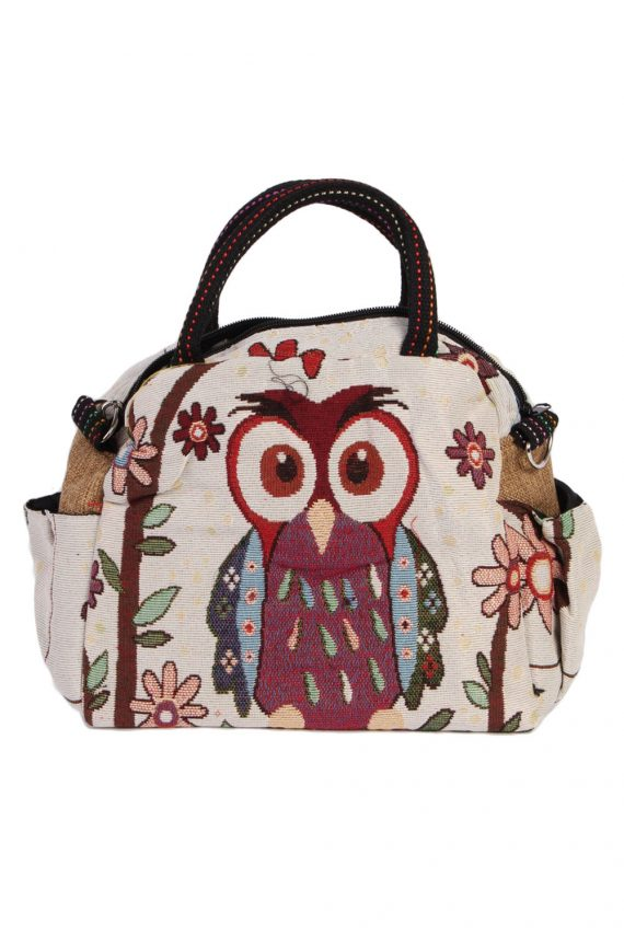 Womens Owl Printed Bag- Cream - BG420-0