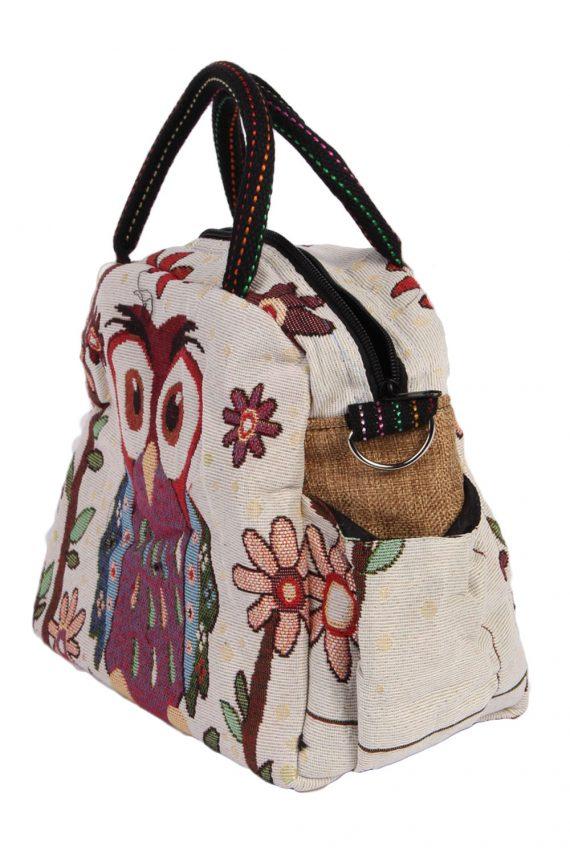 Womens Owl Printed Bag- Cream - BG420-40697