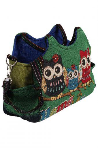 Ladies Owl Printed Bag - Green - BG429-40770