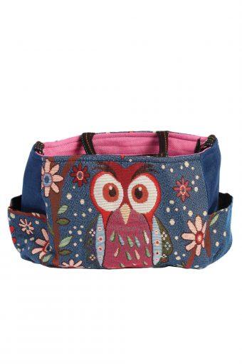 Ladies Owl Printed Bag – Navy