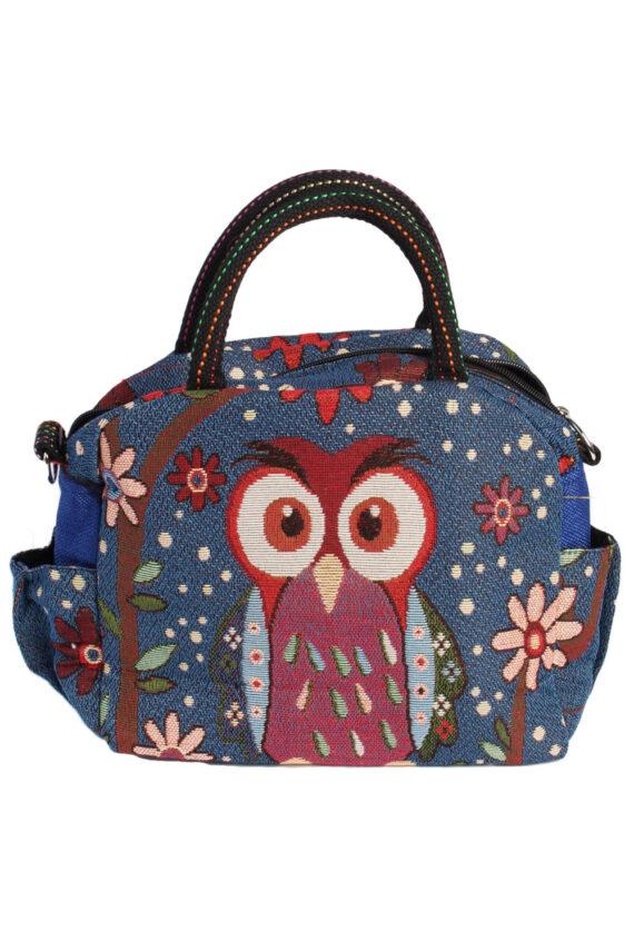 Womens Owl Printed Bag - Navy - BG436-0