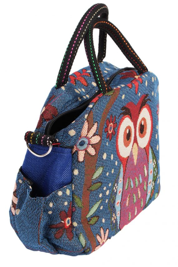 Womens Owl Printed Bag - Navy - BG436-40791