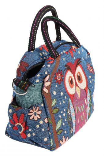 Ladies Owl Printed Bag - Navy - BG437-40794