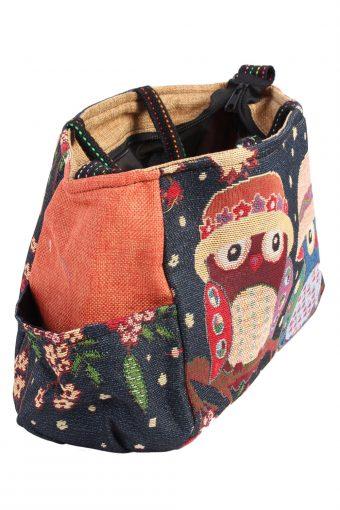 Ladies Owl Printed Bag - Navy - BG441-40806