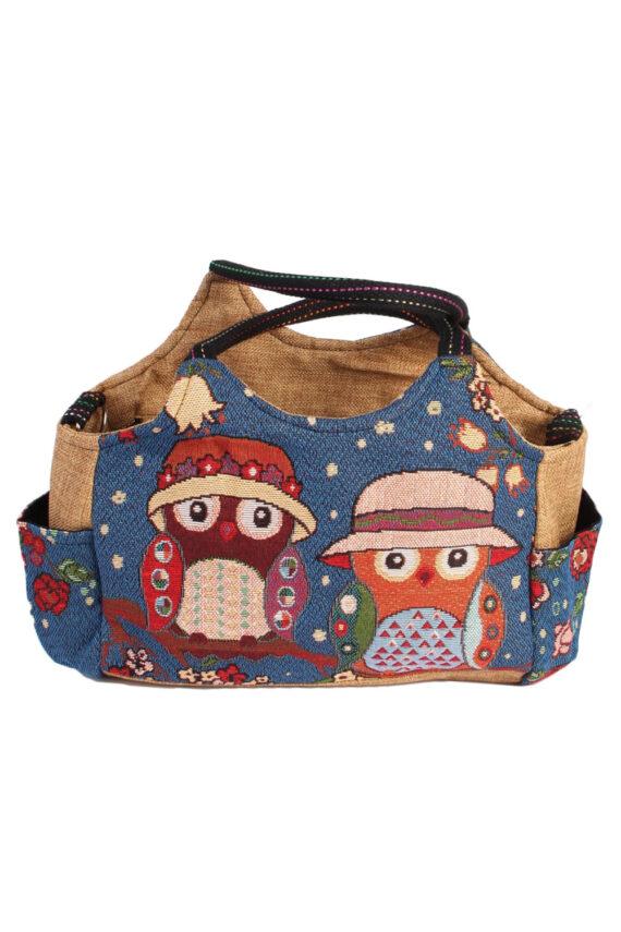 Womens Owl Printed Bag - Navy - BG444-0
