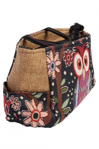 Ladies Owl Printed Bag - Navy - BG445-40818