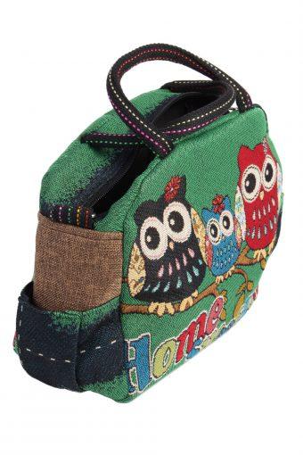 Ladies Owl Printed Bag - Green - BG457-40854
