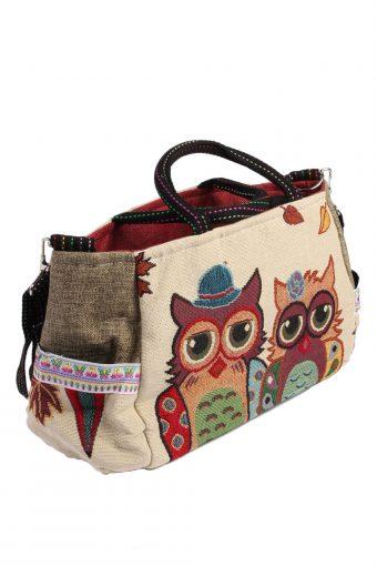 Ladies Owl Printed Bag - Cream - BG464-40938