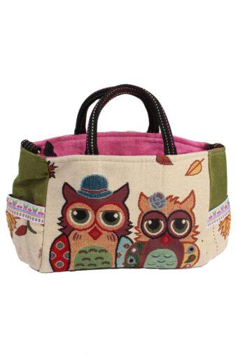 Ladies Owl Printed Bag – Cream