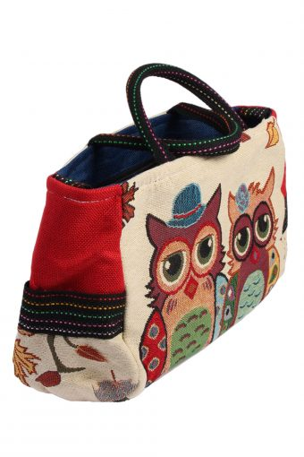 Ladies Owl Printed Bag - Cream - BG470-40956