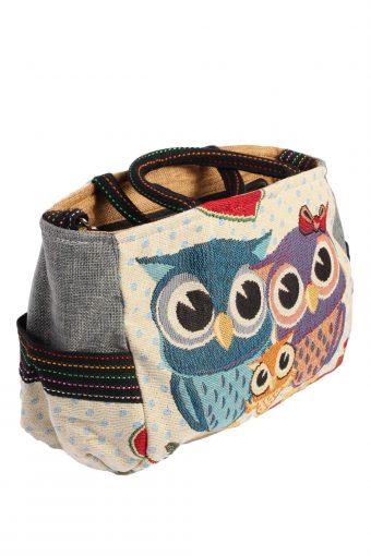 Ladies Owl Printed Bag - Cream - BG471-40959