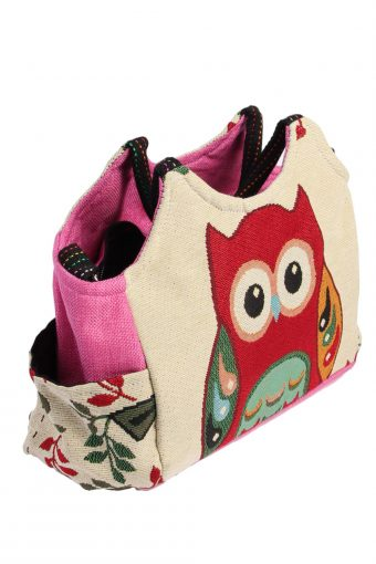 Ladies Owl Printed Bag - Cream - BG481-40989