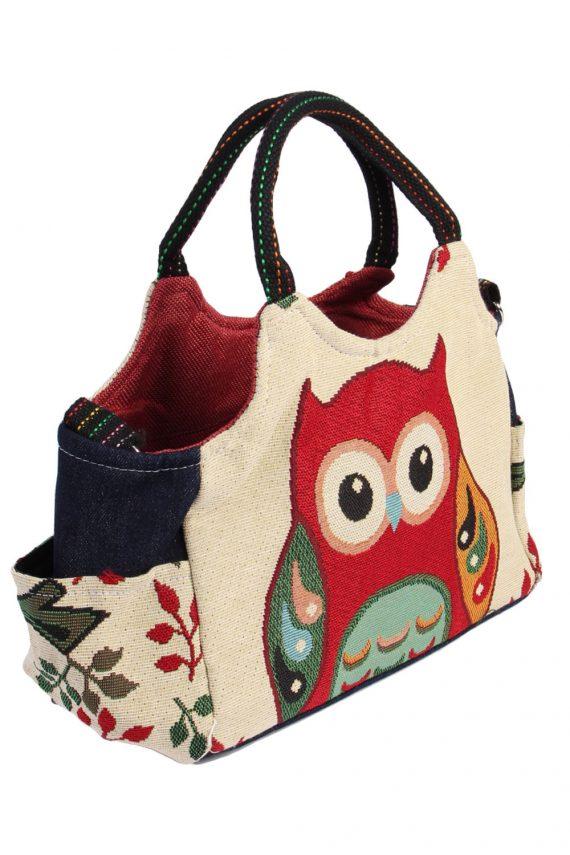 Ladies Owl Printed Bag - Cream - BG482-40992