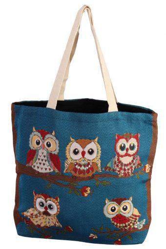 Ladies Owl Printed Bag – Blue