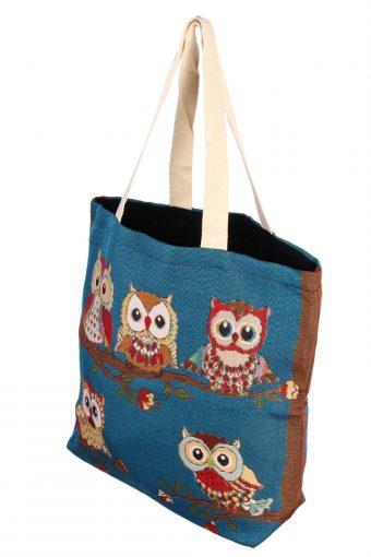 Ladies Owl Printed Bag - Blue - BG496-41043